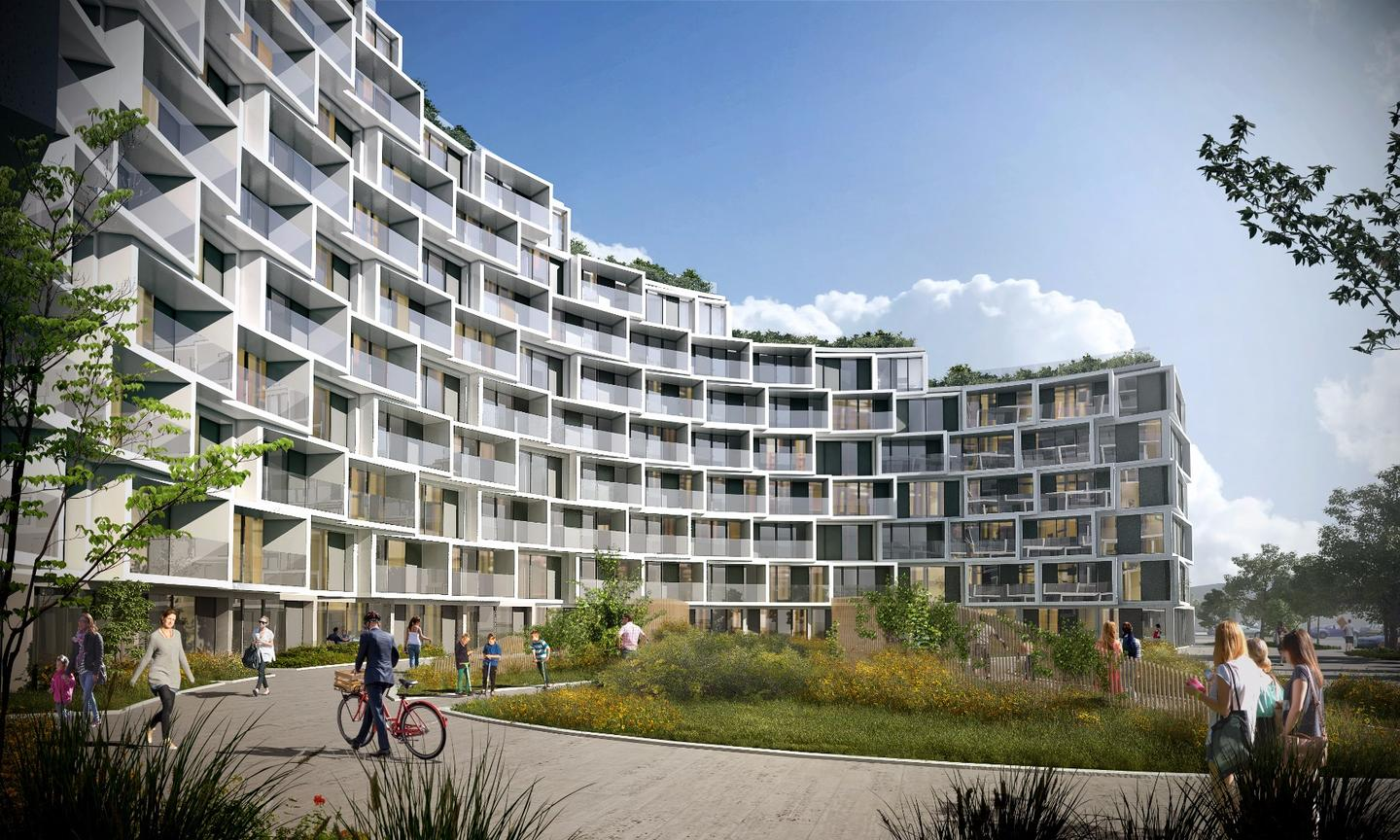 The lateral semi-circular design of La Tour affords room for an outdoor green space