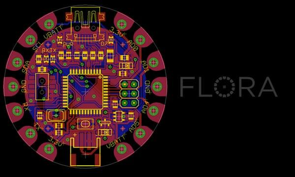 Announced FLORA modules include Bluetooth, GPS, 3-axis accelerometer, compass, and OLED