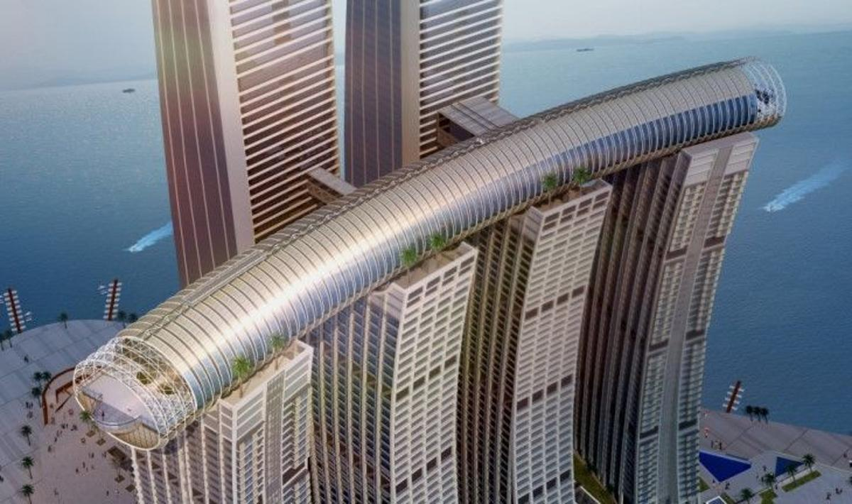 "Raffles City Chongqing's ""horizontal skyscraper"" is named the Conservatory and measures 300 m (984 ft)-long"