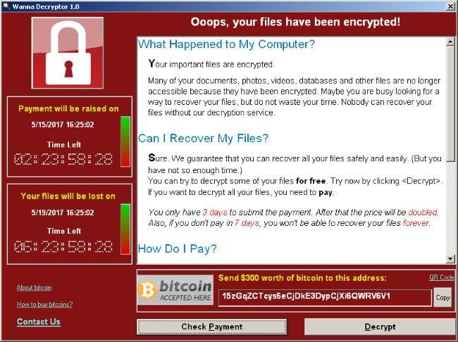A screenshot of a computer infected with the WannaCry ransomware