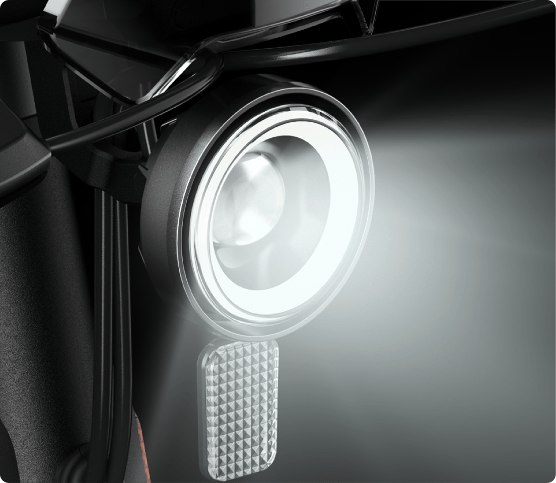 The Niu Kick Scooter features a halo headlight