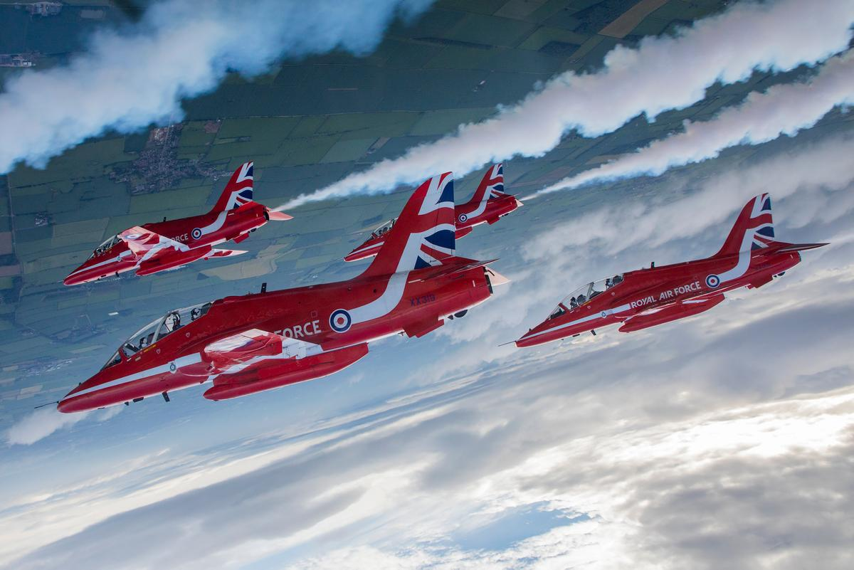 From Cpl Ashley Keates, 3rd Place in Photographer of the Year. The Red Arrows pull up and loop over the top in Short Diamond formation just before the Spaghetti Break over their home base of RAF Scampton in Lincolnshire. Cpl Ashley Keates, Circus 10 flew with Red 9, Flt Lt Dan Lowes to capture the flypasts.