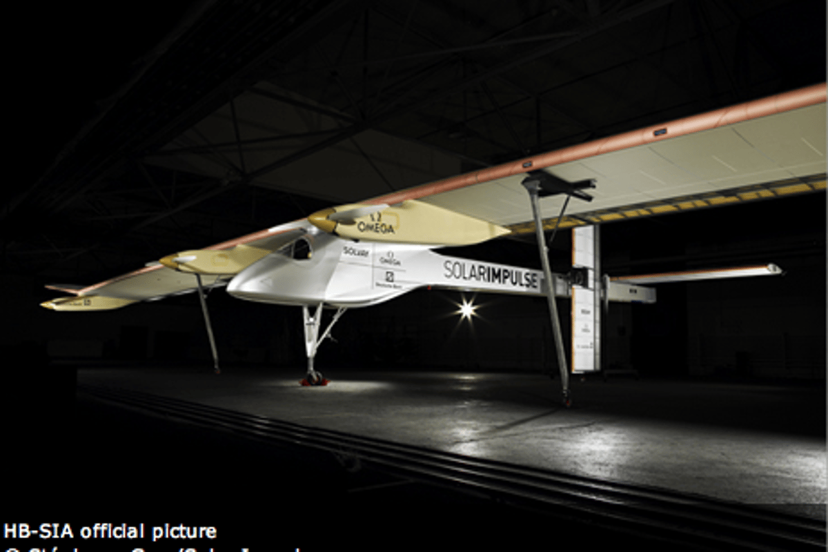 The Solar Impulse 100% solar-powered aircraft was unveiled near Zurich on June 26th.(Photo: Stephane Gros/Solar Impulse)