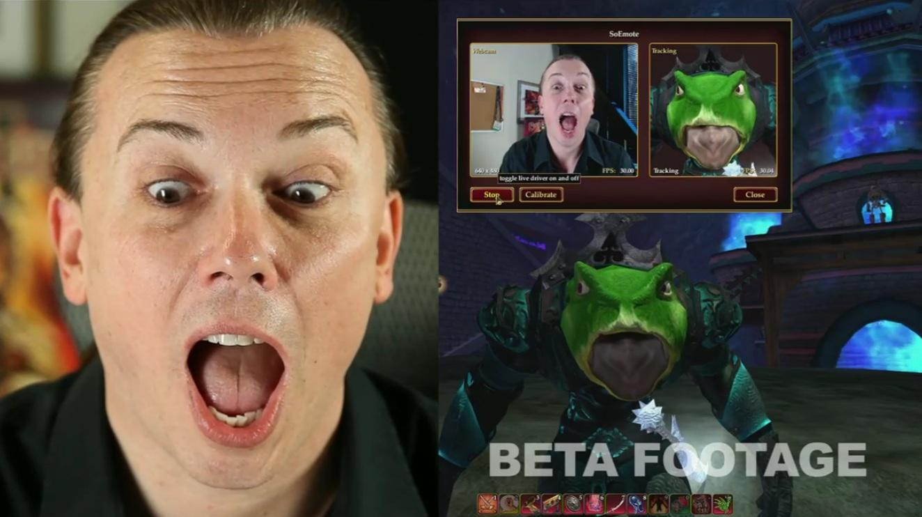 Sony is adding facial recognition software to Everquest II that will use a webcam to translate players' facial expressions, head movements, and voice onto their online avatar in real time