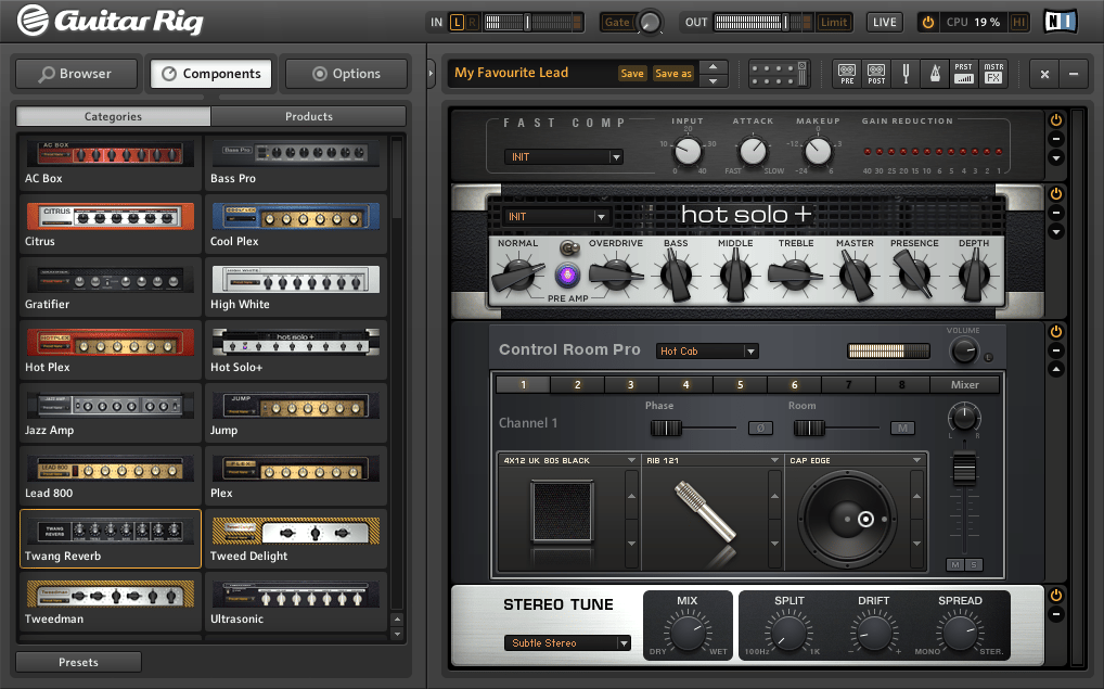 Screenshot of the new Guitar Rig 5 Pro amp and effects suite from Native Instruments
