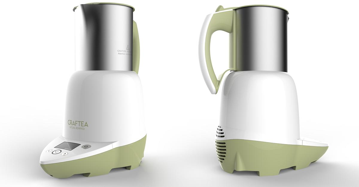 The kettle is inductively heated around the bottom half, which increases efficiency and safety