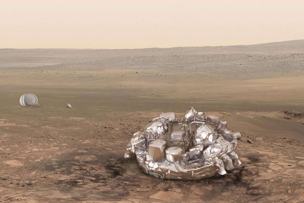 Artist's concept of Schiaparelli on Mars