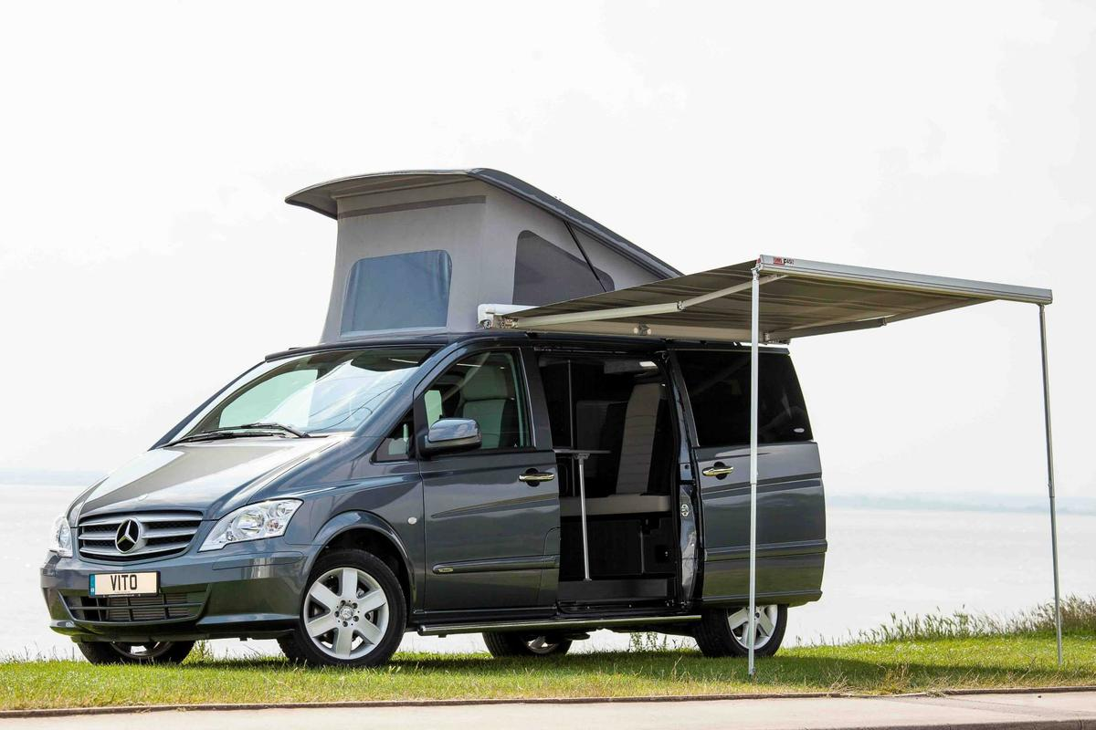 The Horizon MCV includes an outdoor awning and pop-up roof sleeping area