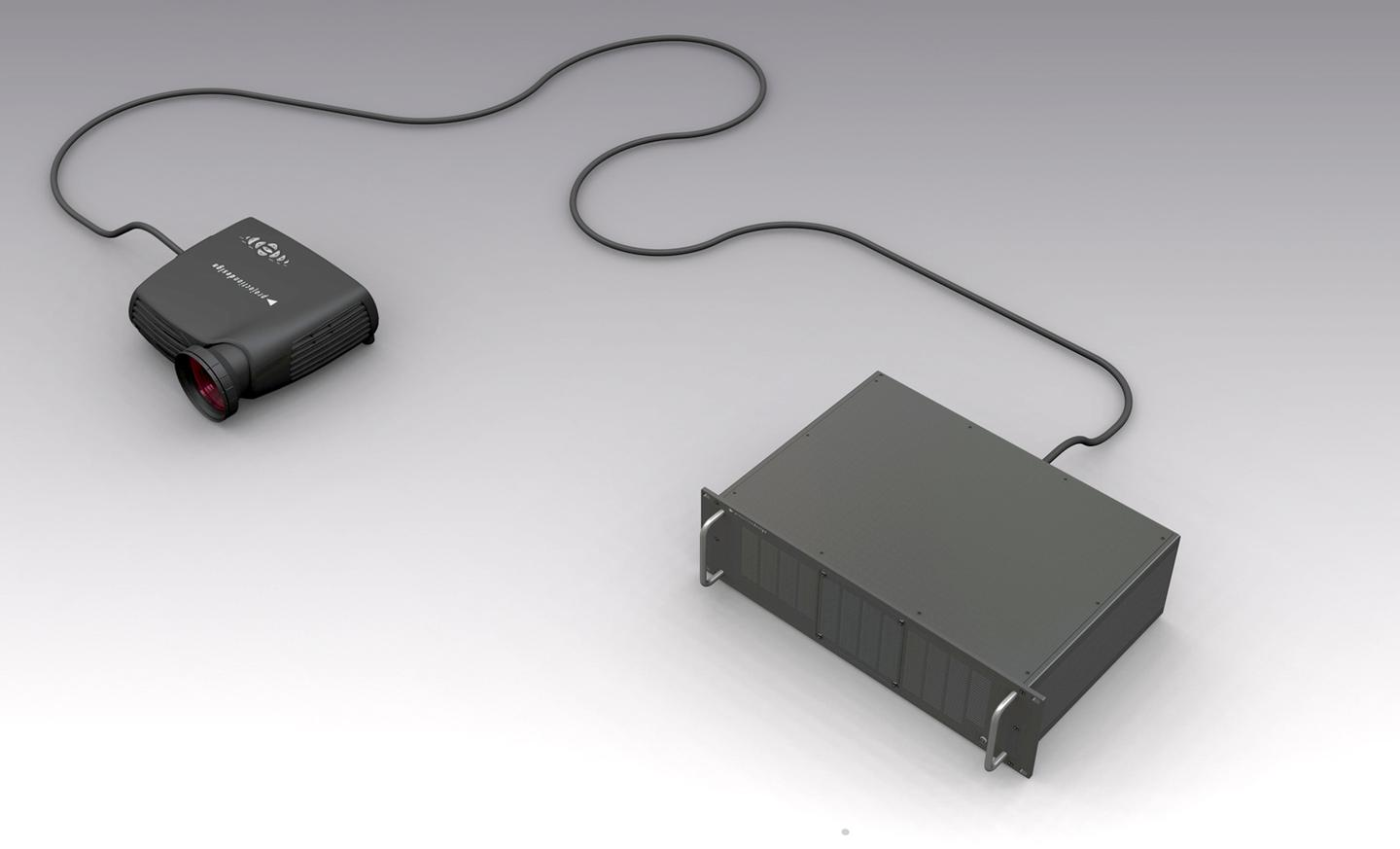 Projectiondesign's FR12 projector has a lamp that can be located up to 30m from the projector head, resulting in zero noise and heat at the viewing area and easier lamp replacements