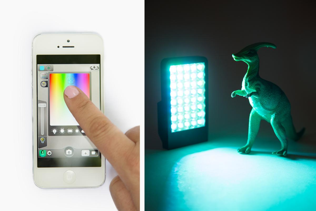 The Kick is a compact multi-color LED light source that can be remotely-controlled using an iPhone