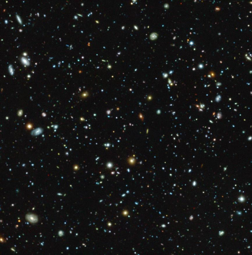 The Hubble Ultra Deep Field as seen by MUSE and the VLT. MUSE was able to detect galaxies up to 100 times fainter than any discovered in previous surveys of the region