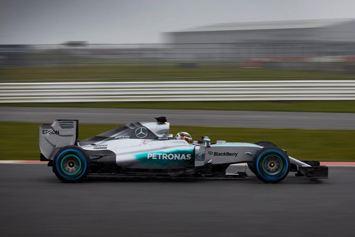 Lewis Hamilton, 2014 World Driving Champion, testing the new W06 Hybrid Silver Arrow