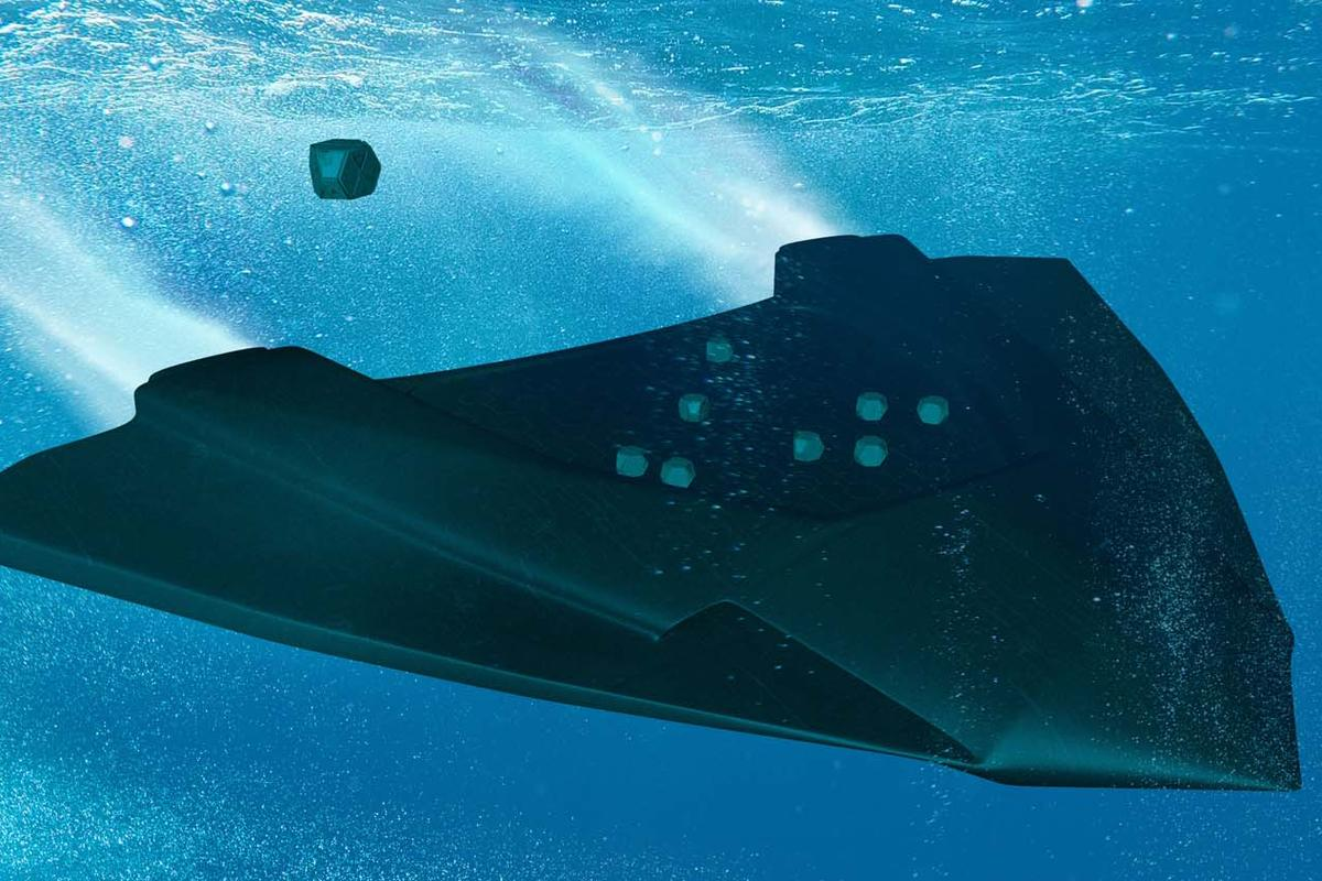 A blended wing submarine with hex pods