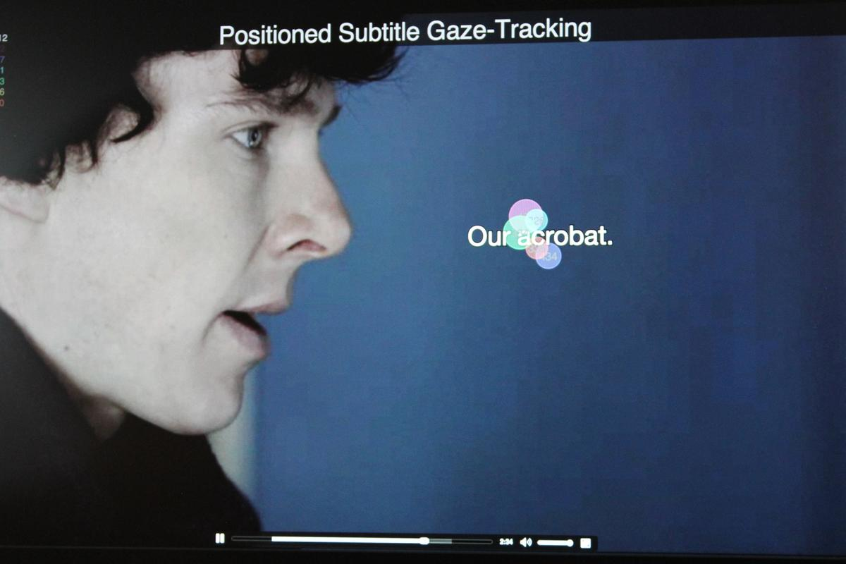 The colored circles indicate that all eyes are on the positioned subtitle created by a new system being tested at BBC R&D