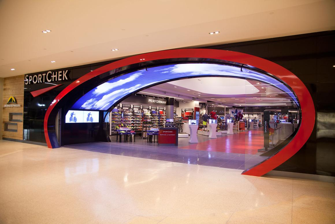 The entrance to the new high-tech SportChek flagship store