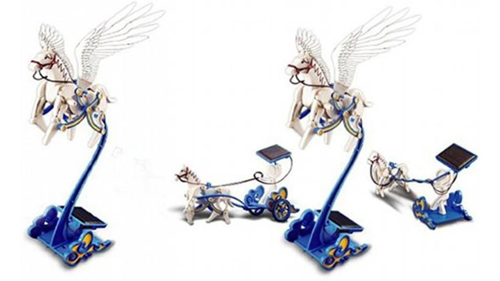 The Solar Pegasus Flying Horse comes with a solar panel to draw power from the sun or a lamp