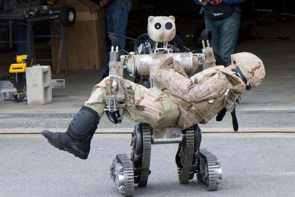 BEAR is an all-terrain, search-and-rescue humanoid robot that can lift and carry up to 500 pounds, yet can grasp fragile objects without damaging them (Image: TATRC)