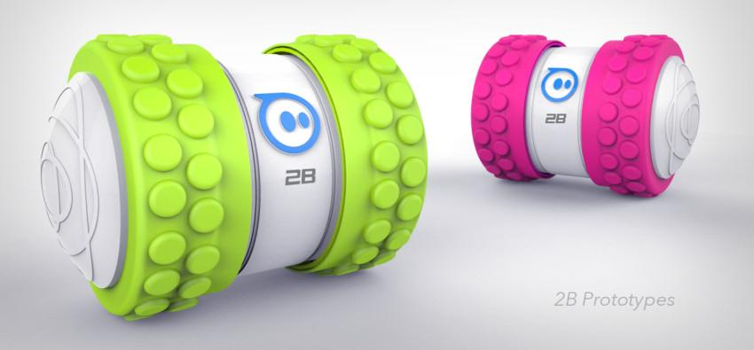 Interchangeable wheels, tires and hubcaps mean the Sphero 2B can cope with multiple terrains