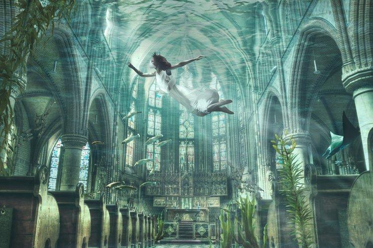 A rendering showing Amphibio being used to visit a flooded cathedral in the 22nd century