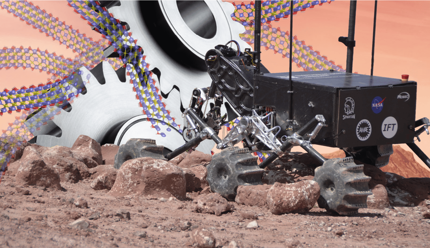 Mars rover designed by Missouri S&T students overlaid with illustration of MXene superlubric sheets