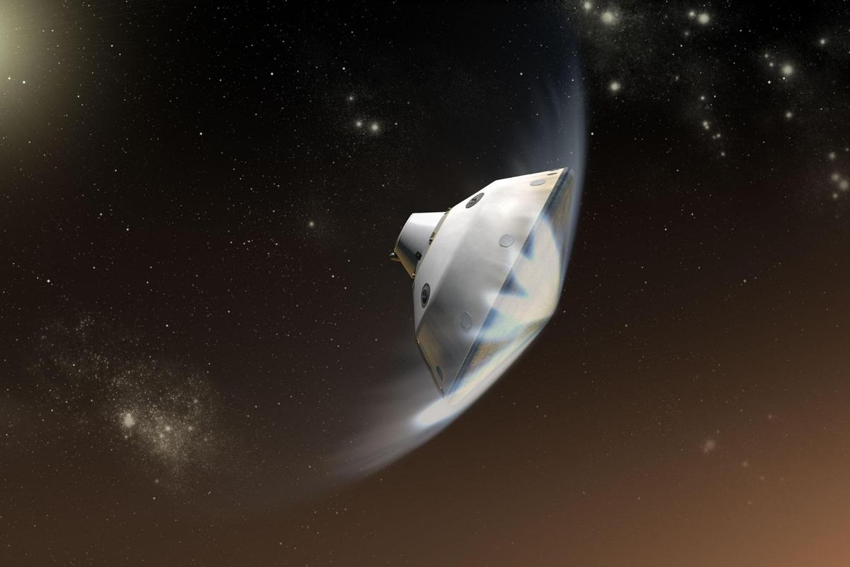 Artist's impression of NASA's Mars 2020 lander entering the Martian atmosphere