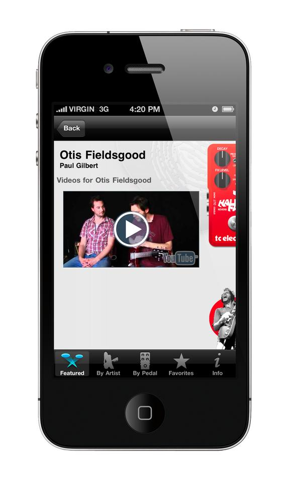 A video featuring guitar virtuoso Paul Gilbert made available via the TonePrint app for iPhone