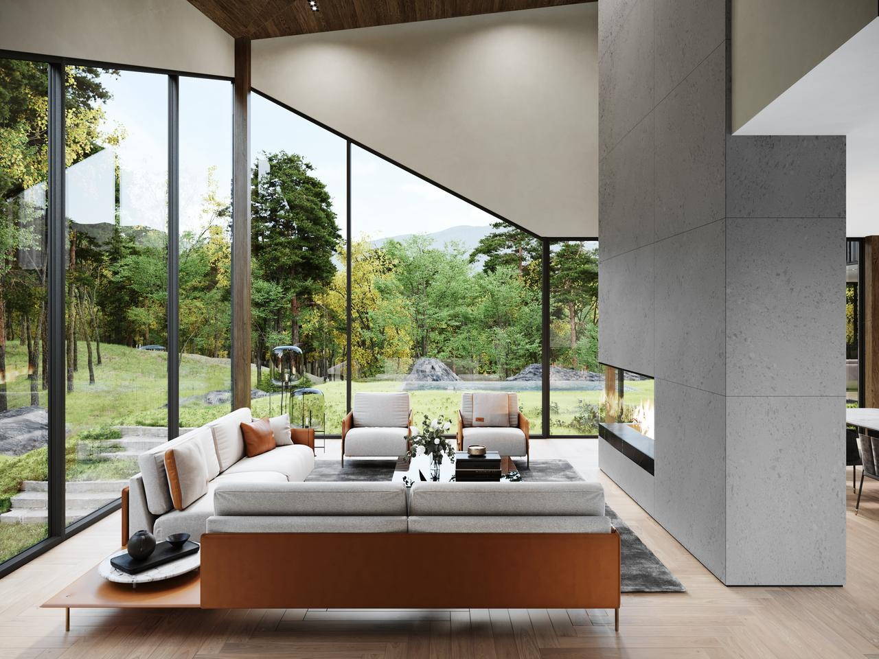 Sylvan Rock's living room will feature expansive glazing, offering views of the landscaped garden outside