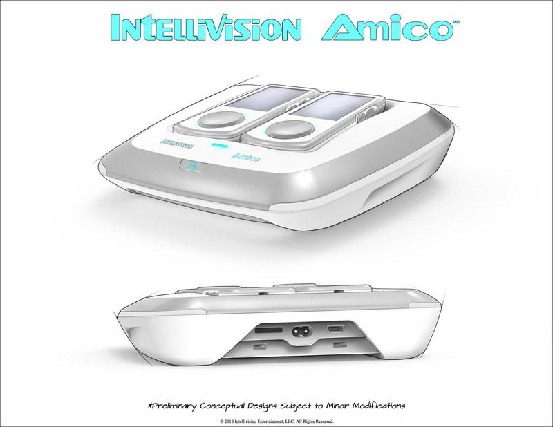 The Intellivision Amico looks like sleeky, curvy trapezoid with two controllers perched on top
