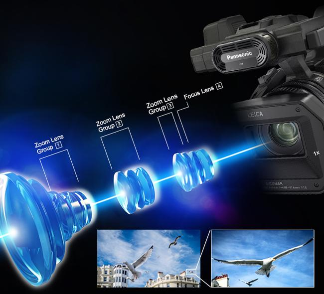 The Panasonic HC-X1000 features a 20x zoom Leica Dicomar lens system