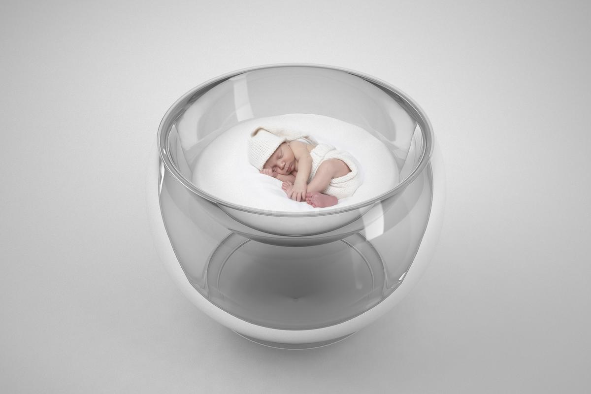 Bubble Baby is a vacuum-thermoformed and blow molded acrylic baby bed which was inspired by a traditional Russian tumbler-toy called a Nevalyashka