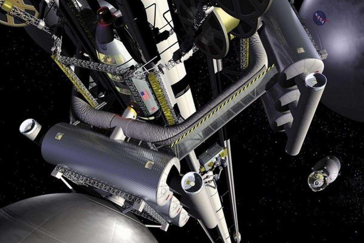 A NASA artist's rendition of a space elevator (Image: NASA)