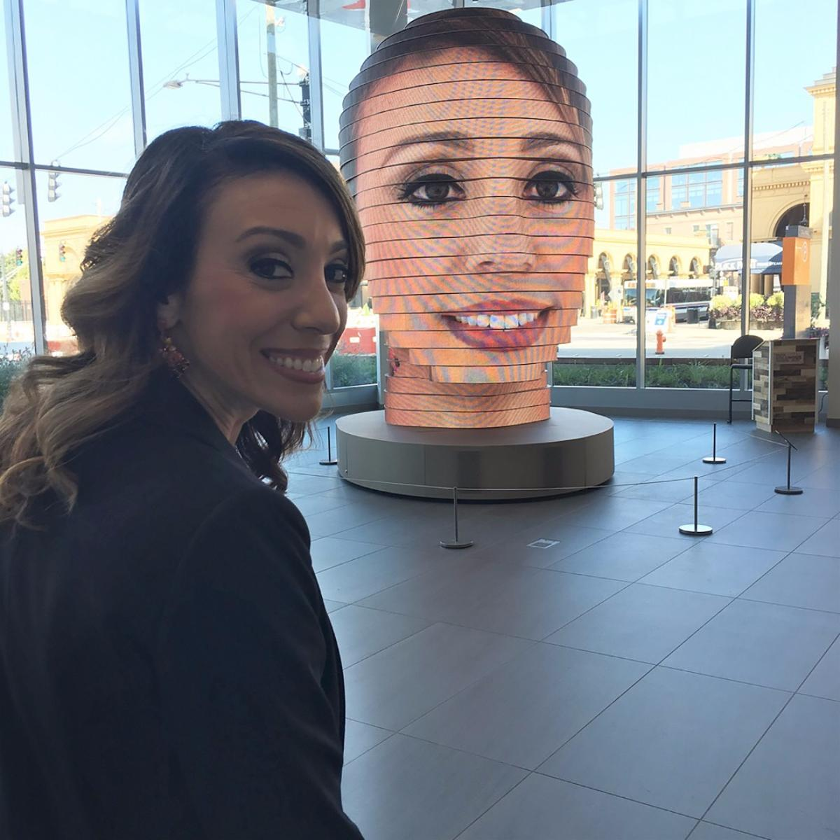 As We Are is an interactive public art installation, where visitors' selfies are displayed on a giant head for all to see