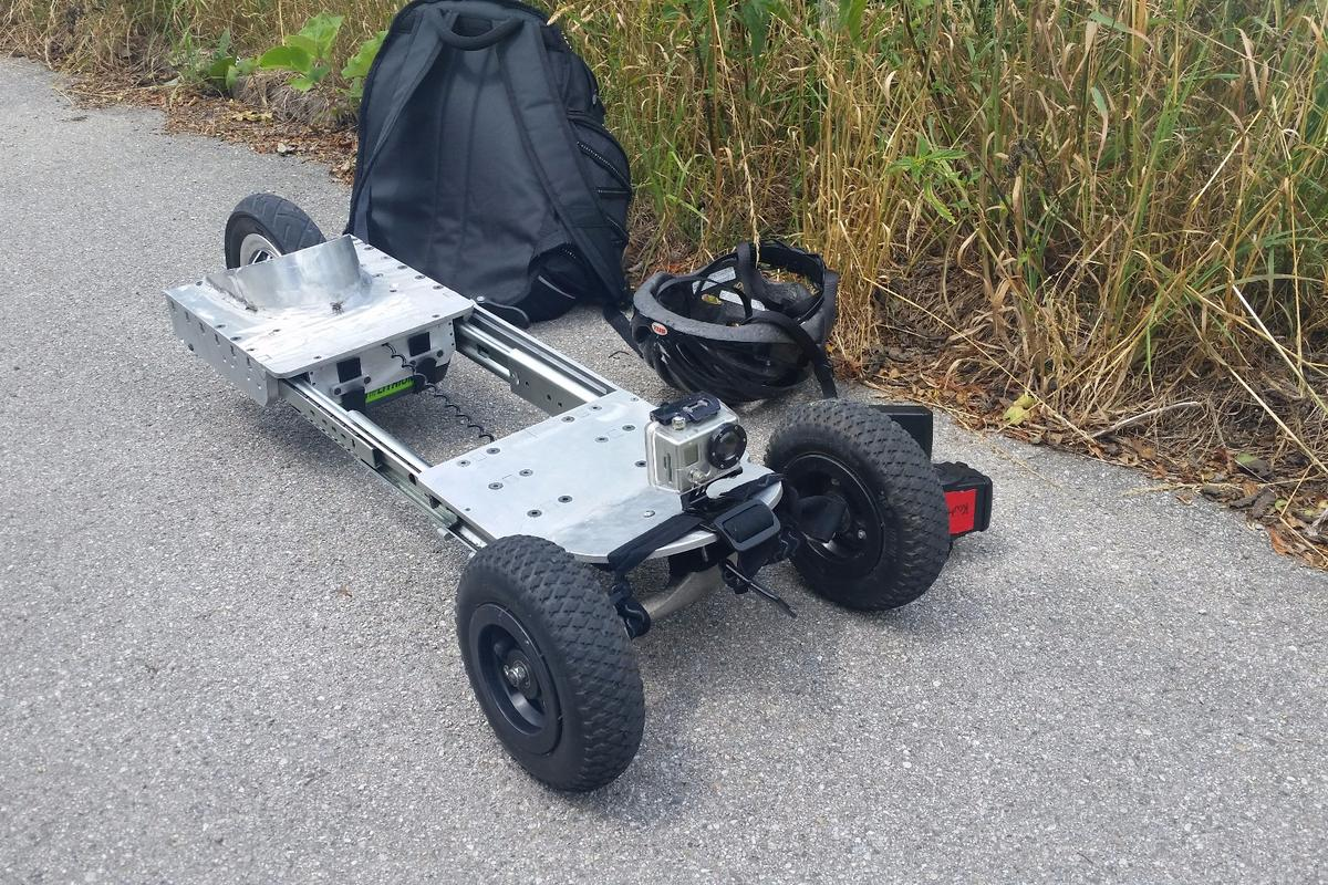 The Mountain-Slider can collapse down to fit in a backpack between rides