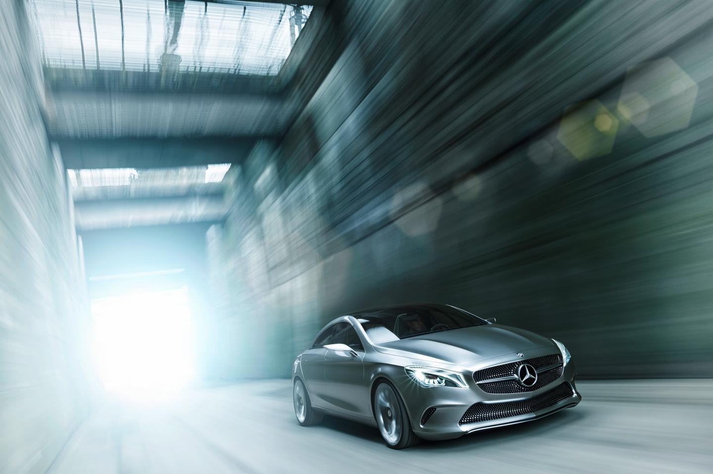 The Mercedes Benz Style Coupe Concept is a sporty executive four-door coupé with a two-liter, four-cylinder, turbo-charged petrol engine producing 211 hp and driving through Mercedes' 4MATIC all-wheel drive system.