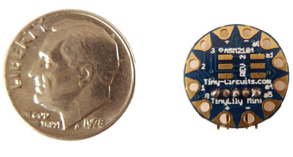 TinyLily Mini measures less than a U.S. dime, just 14 mm (0.55 inches) in diameter