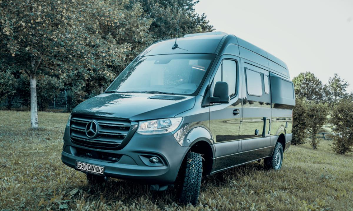 Hymer has given its 2018 off-road show Sprinter a black-out look and rugged all-terrain tires