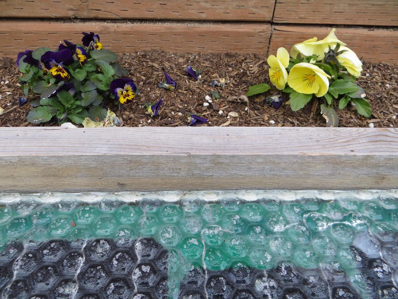 Close up of the Solar Roadways parking lot shows the detail of the toughened glass surface