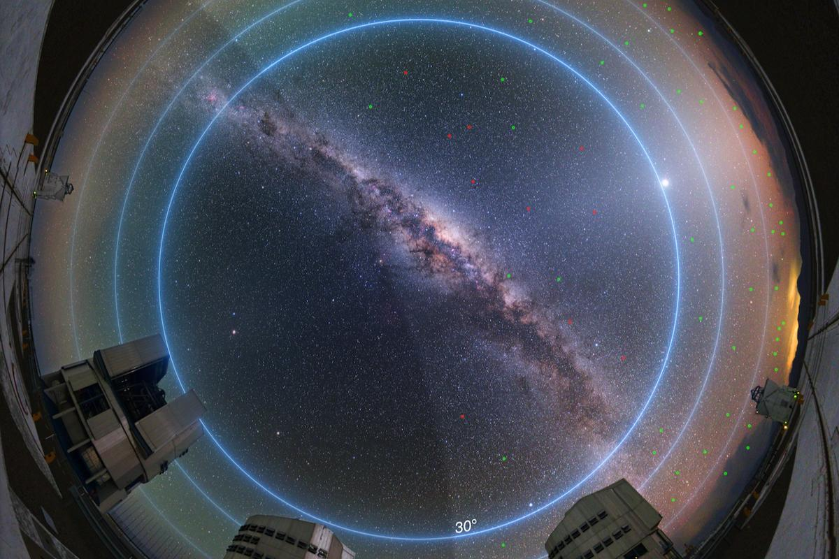 An annotated image showing the night sky above the ESO's Paranal Observatory in Chile