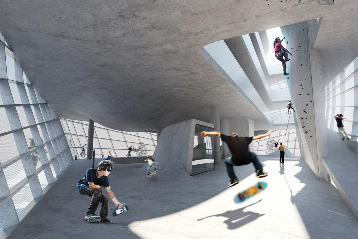 A new multi-story skatepark will benefit from additional skateable space and features resulting from the different levels of height