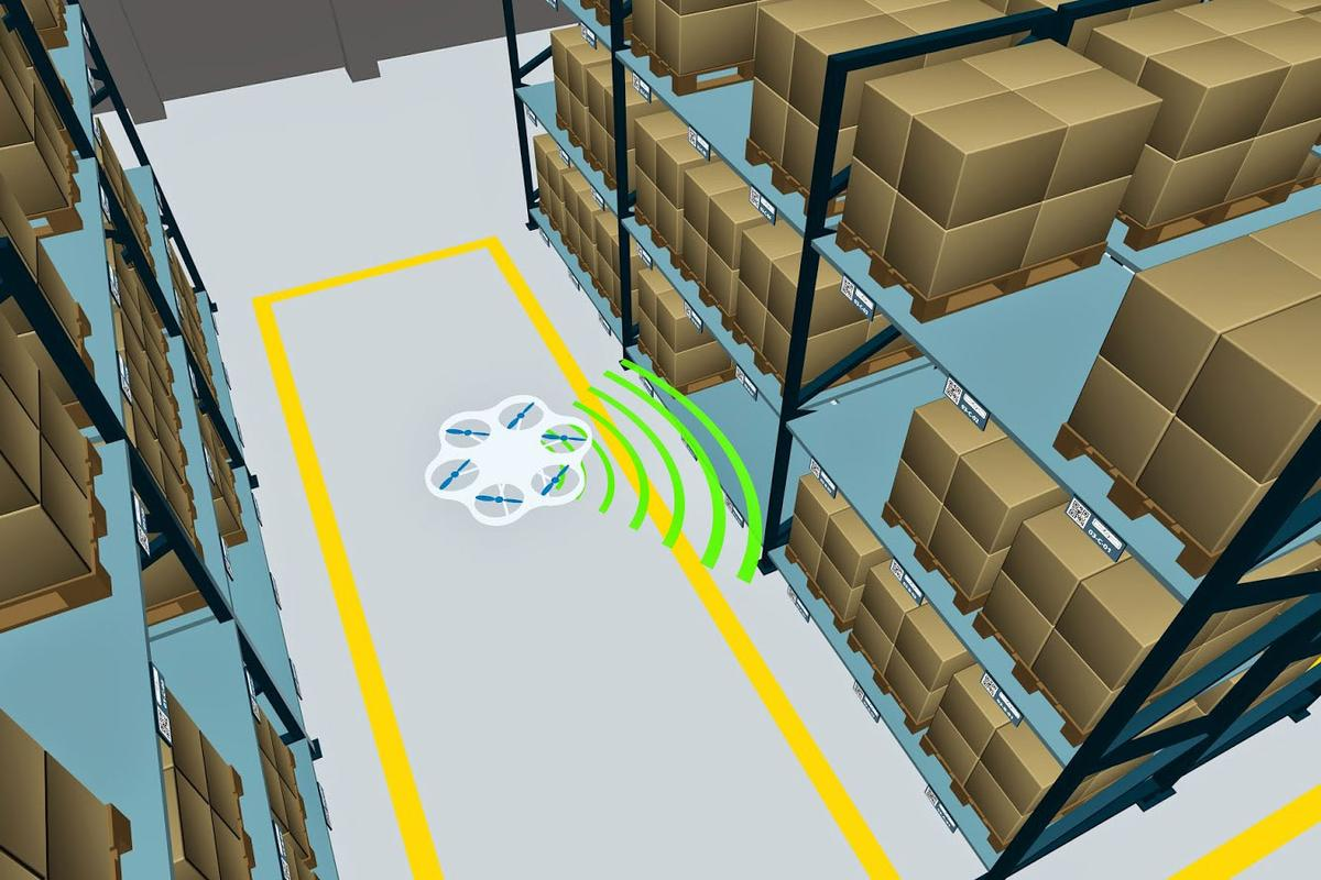 The autonomous flying robot will soon be capable of independent navigation and inventory administration (Image: Fraunhofer IML)