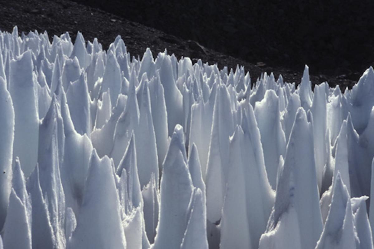 A new study suggests Europa's surface could be dotted with giant penitentes (ice spikes), such as those seen here in the Andes of Argentina