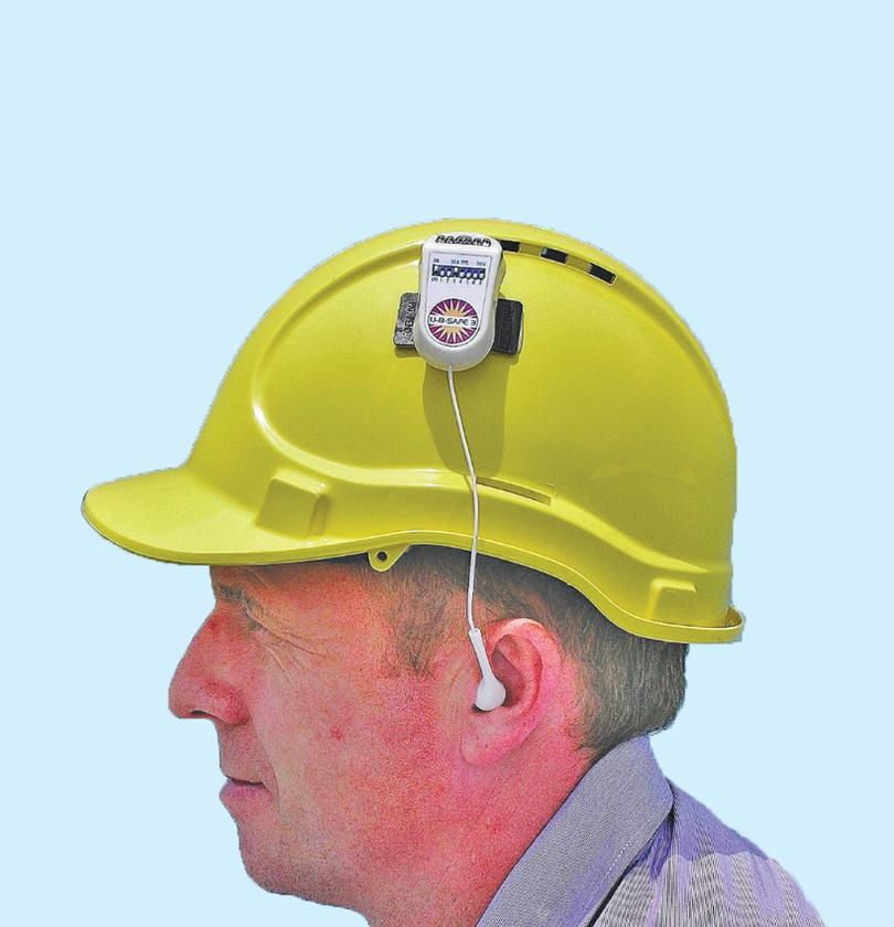 The UBSafe 3 attaches to a hard hat for industrial use