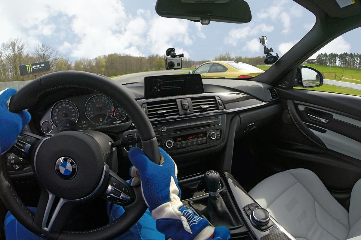 The driver controls the camera with BMW's infotainment system
