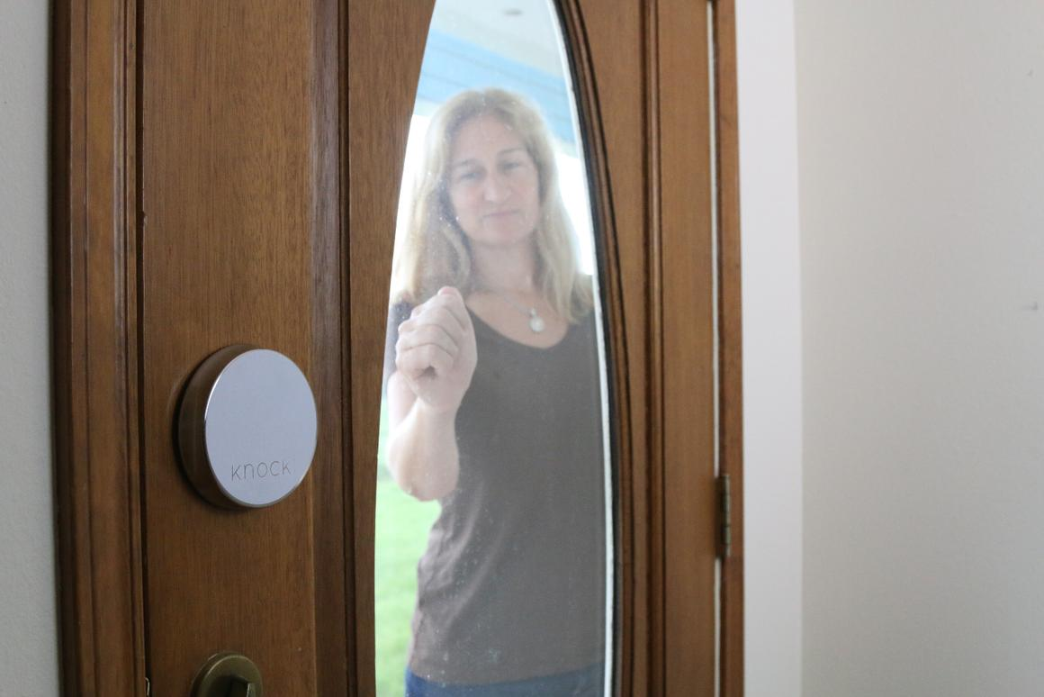Knocki can be set to alert you via text if someone knocks on your door when you're away