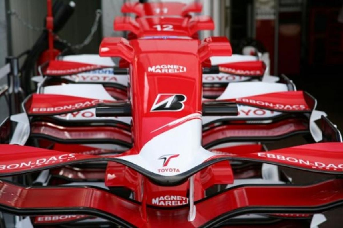 Toyota's Formula One car, aerodynamically tuned for maximum downforce and minimum drag