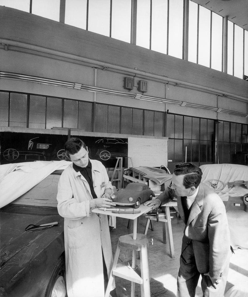 Ferry and Ferdinand Alexander Porsche in the Porsche Design Studio circa 1959