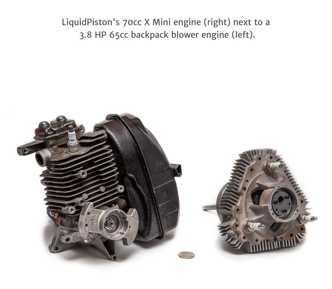 A backpack blower engine and the X Mini