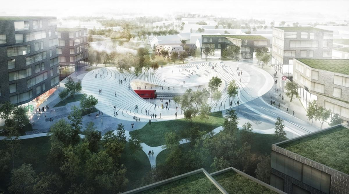 Vinge Train Station, in Denmark, will have an undulating circular design that helps avoid splitting the city in two