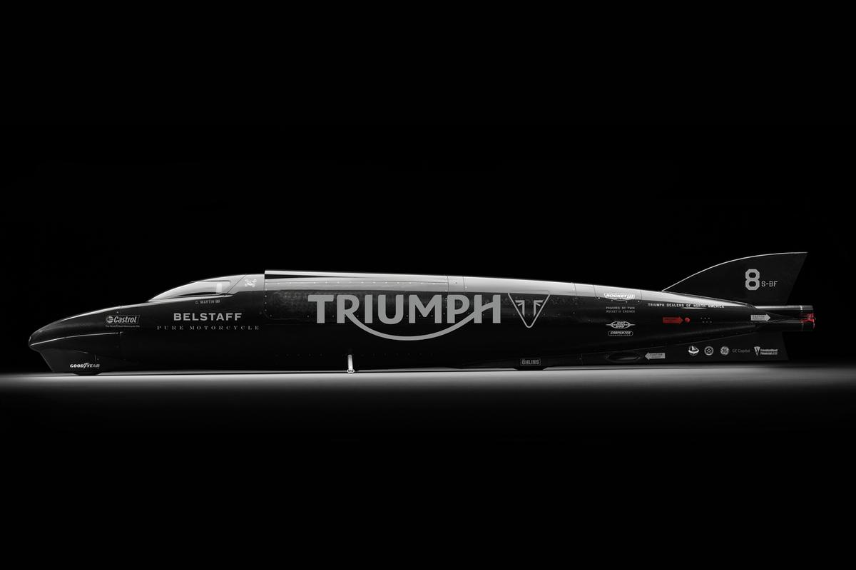 The Triumph Rocket III Streamliner will attempt to break the land speed record that currently stands at 376.363 mph (605.697 km/h)