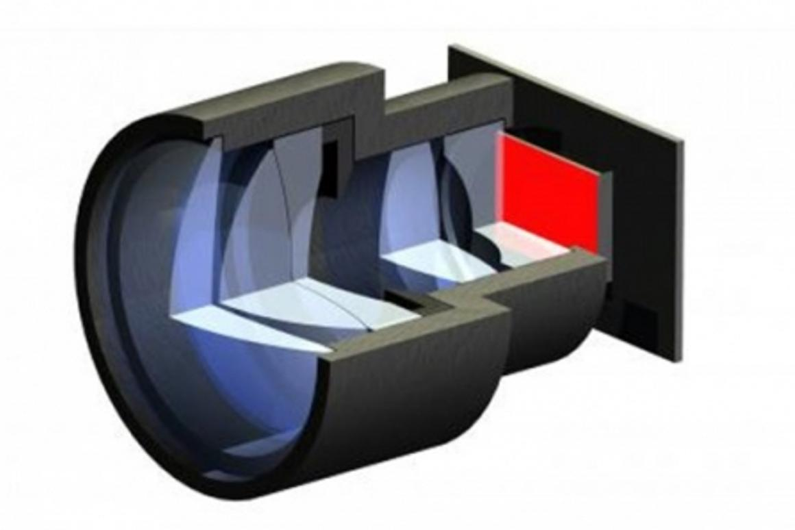 The lens system of the mini projector used to project the image produced by the OLED (Image: Fraunhofer)